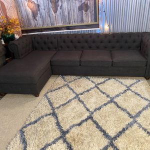 Charcoal Grey 2 Piece TUFTED sectional ONLY😍NO holds-NOT Selling Other items-SERIOUS buyers ONLY😊 for Sale in Raleigh, NC