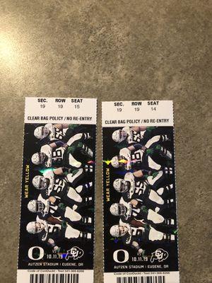 Oregon Ducks vs Colorado Buffaloes 10/11/19 for Sale in Bend, OR