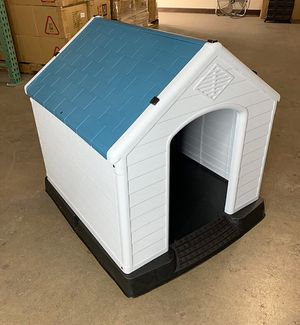 "(NEW) $75 Plastic Dog House Medium/Large Pet Indoor Outdoor All Weather Shelter Cage Kennel 35x31x32"" for Sale in El Monte, CA"