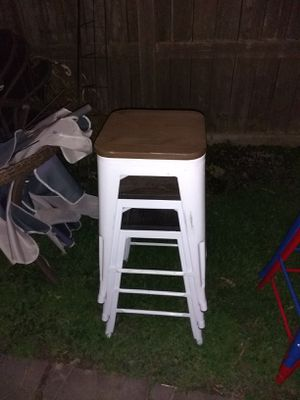 3 white stools with wood tops for Sale in Wyandotte, MI