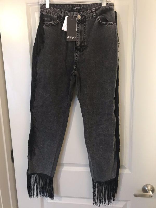 Nasty Gal Fringe Black Jeans