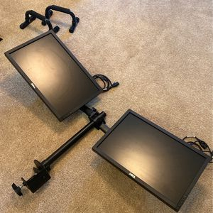 2 Dell '18 Monitors with Adjustable Dual Monitor Stand for Sale in Placentia, CA