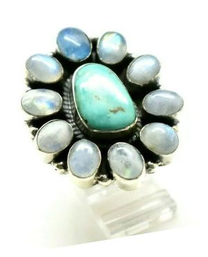 Turquoise Moonstones Sterling Silver Ring Size 8 20 grams New for Sale in Marietta, GA