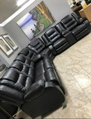 $39 Down Payment Best DEAL 🍾 SPECIAL] Vacherie Black Reclining Sectional 58 for Sale in Jessup, MD