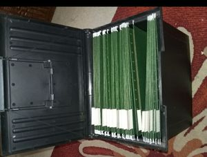 File box, cabinet on wheels, fax machine, printer and scanner for Sale in Waterloo, IA