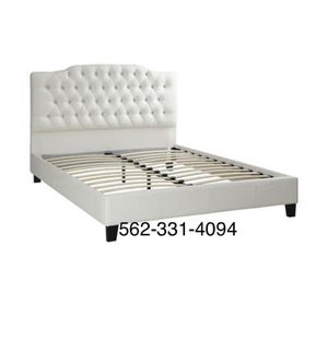 💢New Queen White Tufted faux leather bed frame💢 for Sale in San Jose, CA