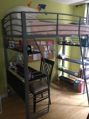 DHP Studio Twin Loft Bed with Integrated Desk and Bookshelves, silver for Sale in San Francisco, CA