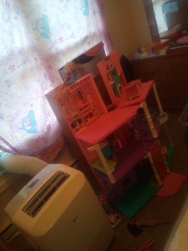 Barbie dream house, wooden doll house and sun glasses