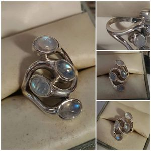 92.5 Sterling Silver Modern 8ctw Rainbow Moonstone Ring for Sale in Pawtucket, RI