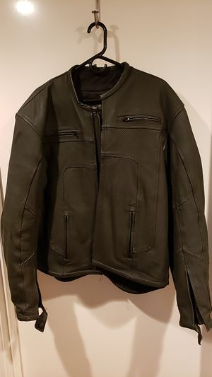 Frank Thomas Leather Motorcycle Jacket with built in elbow and shoulder protection for Sale in Kent, WA