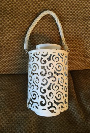 Cute white, metal, decorative , rustic looking candle holder. Inside or out. ONLY $5 for Sale in Long Beach, CA