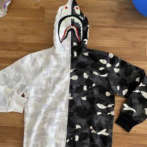 BAPE black/white Camo half Shark Full Zip Hoodie for Sale in Huntington Beach, CA