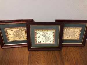 "Three 13 1/4""x11 1/2"" frames with map pictures for Sale in Celina, TX"