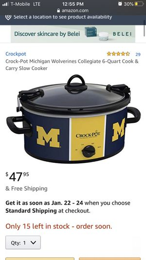 Crock-Pot Michigan Wolverines Collegiate 6-Quart Cook & Carry Slow Cooker for Sale in Bakersfield, CA