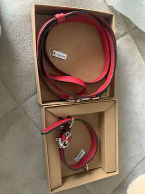 Coach red dog collar and leash (small) for Sale in Sandy, UT
