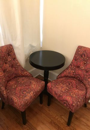 Espresso table and studded slipper chairs for Sale in Jacksonville, FL