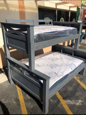Pinewood bunk beds Twin-full and mattress included for Sale in Pasadena, CA