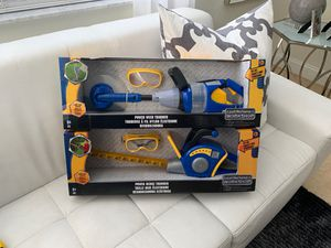 2 Just Like Home Workshop Tools (NEW IN BOX) Power Hedge Trimmer w/ Goggles & Power Weed Trimmer w/ Goggles Christmas Toy for Sale in Miramar, FL