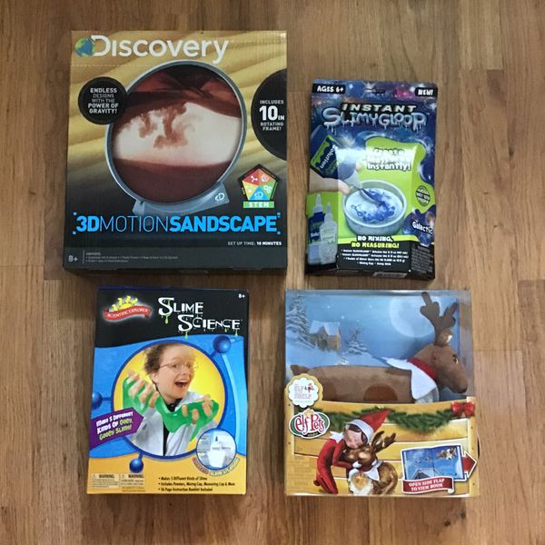 Kid's Lot Elf Pets Reindeer+Discovery 3DMotionSandscape+2 Slime Kits-NEW!