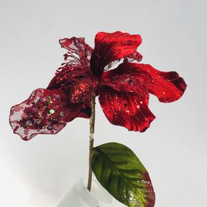 "Vickerman 22"" Red Glitter Sheer Poinsettia Christmas Wedding Flower Stem for Sale in Tenino, WA"
