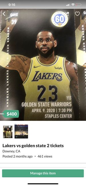 Laker tickets (2) for Sale in Downey, CA