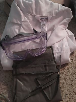 College chemistry lab coat, apron, and lab goggles for Sale in New Port Richey, FL