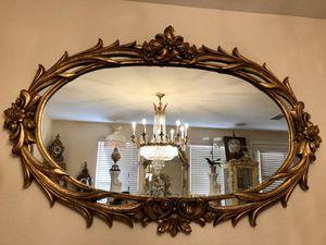 Huge Hand-Carved Oval Gold Leaf Mirror for Sale in Stevenson Ranch, CA