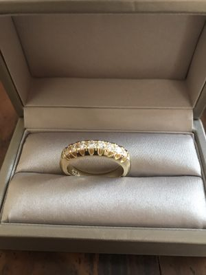 18K gold plated over 925 stamped sterling silver with stimulated diamond elegant engagement ring for Sale in Addison, IL