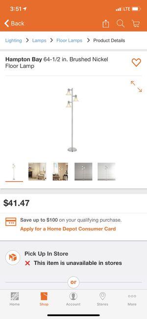 Floor lamp nickel finish for Sale in Victorville, CA