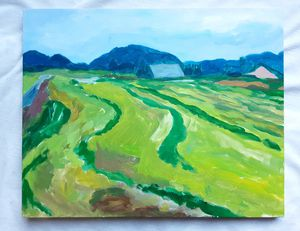 "A 2013 Impressionist Skagit Valley Washington Oil Painting Titled ""Hay field - Skagit Valley"" by Artist Deborah Poletti for Sale in Tacoma, WA"