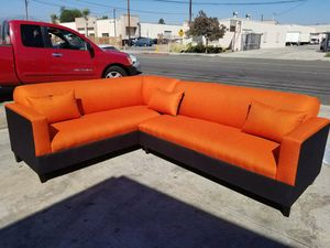 NEW 7X9FT CASSANDRA ORANGE FABRIC COMBO SECTIONAL COUCHES for Sale in Guadalupe, CA