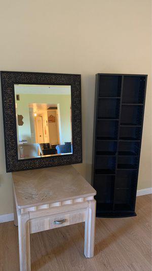 Table mirror bookshelf for Sale in Miami, FL