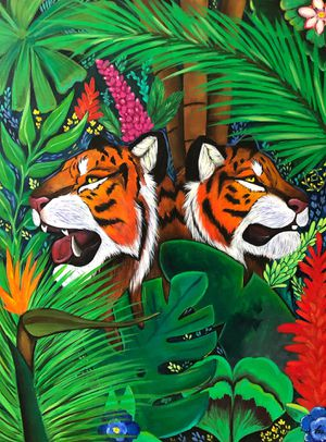Tiger painting, acrylic painting, painting, art, modern art, Christmas gift, gift, tiger, trees, tropical, modern art, home decor for Sale in Bellevue, WA