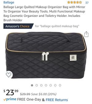 Ballage Large Quilted Makeup Organizer Bag with Mirror To Organize Your Beauty Tools. Multi Functional Makeup Bag Cosmetic Organizer and Toiletry Hol for Sale in Tempe, AZ