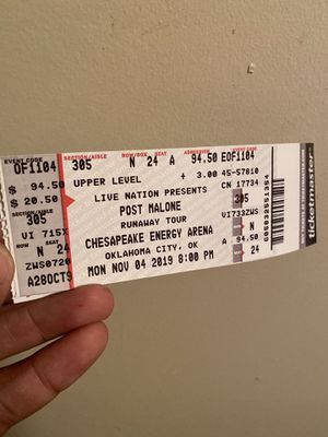2 tickets Post Malone upper level $170 for Sale in Oklahoma City, OK