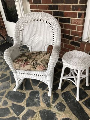White Wicker Rocking Chair With Side Table For In Hanover Va