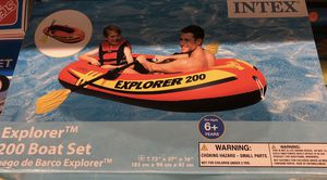 Inflatable boat explorer 200 with pump and 2 oars for Sale in North Bergen, NJ