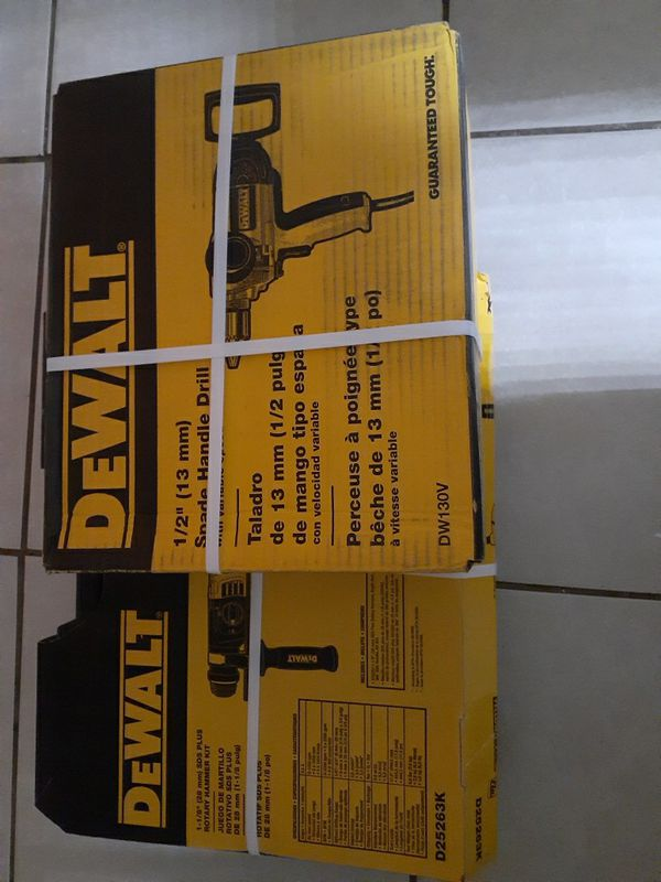 Dewalt spade handle drill and rotary hammer kit brand new and sealed in box