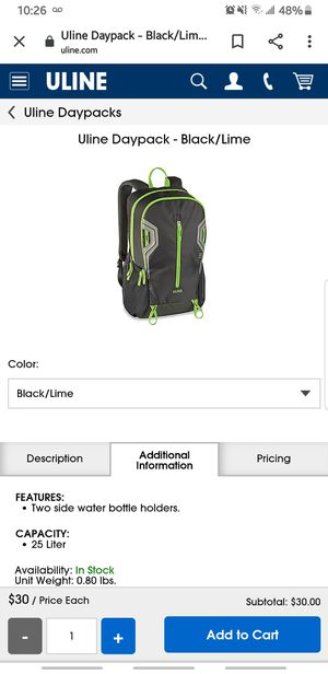 Uline backpack for Sale in Washington, PA
