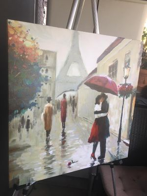 Paris - Wall art painting on canvas, unframed; H24xW24 inch; Excellent like new condition for Sale in Chandler, AZ