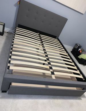Brand New Queen Size Grey Upholstered Platform Bed Frame w/Storage Drawer for Sale in Kensington, MD