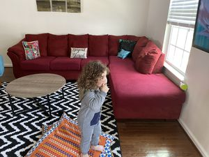 Ashley Home Furnitures Darcy XL L shaped sectional sofa with right sided chaise. Red velvet upholstery and comes with extra covers for Sale in North Wales, PA