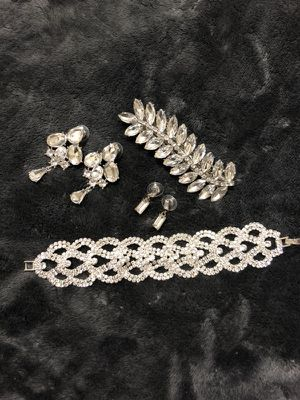 Silver and Diamond Bracelet, Earrings, and Hair Clip for Sale in Annapolis, MD