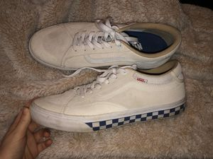 Men's cream color vans with blue checkered side for Sale in Hoquiam, WA