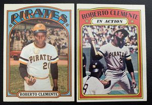 1972 Topps Roberto Clemente Baseball Cards #309 & IA # 310 NM for Sale in Brea, CA