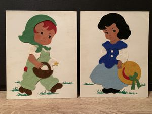 Vintage Handmade Felt Paper Dolls on Cardstock for Sale in Baltimore, MD