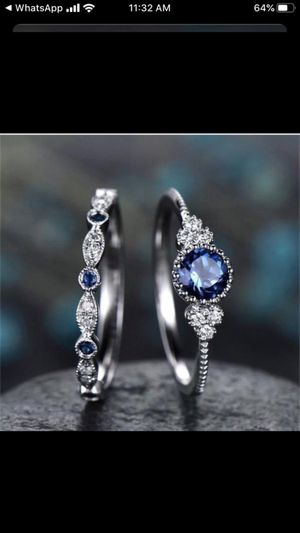 925 Silver Round Cut Sapphire Women Wedding 2 pc set Ring set Size 6 or 7 for Sale in Federal Way, WA