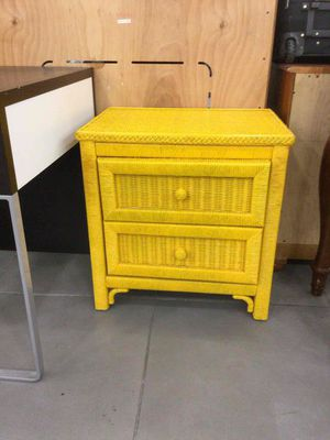 Wicker side table - yellow for Sale in Fort Lauderdale, FL