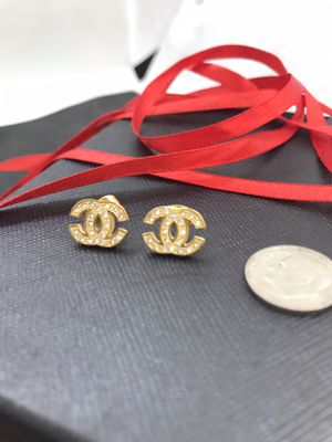 Cute small gold plated fx diamond inset studs earrings for Sale in San Jose, CA
