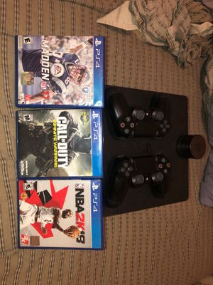 PS4 Two Controllers great Conditions, three Games Great Conditions, & six foot charger. for Sale in West Palm Beach, FL